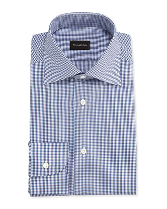 Tight-Check Dress Shirt, Navy/Blue/White