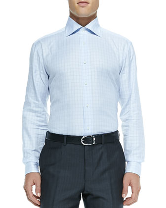Outline-Check Twill Dress Shirt, Light Blue