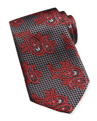 Paisley Textured Silk Tie, Charcoal