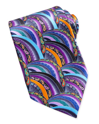 Quindici Patchwork Silk Tie, Purple