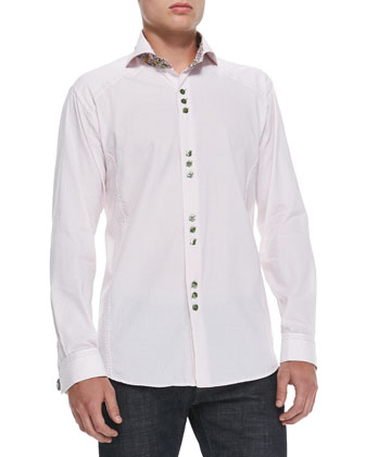 D-Matis 86 Dot-Jacquard Sport Shirt, Pink