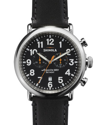 47mm Runwell Chronograph Men's Watch, Black/Black