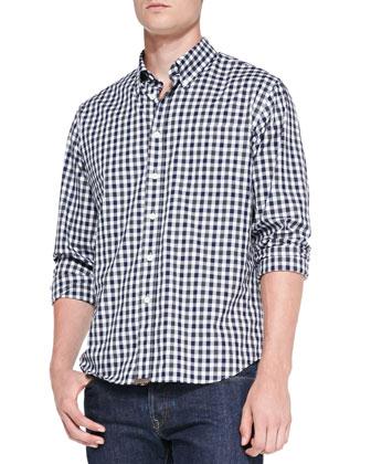 Tuscumbia Gingham Button-Down Shirt, Navy