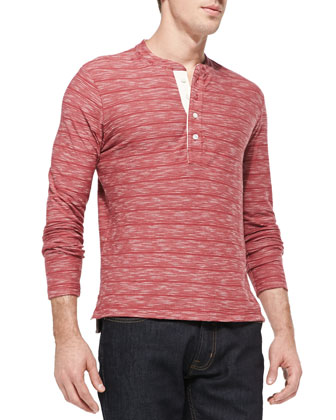 Melange Striped Henley, Brick