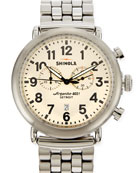 47mm Runwell Men's Chronograph Watch, Stainless Steel/Ivory Dial