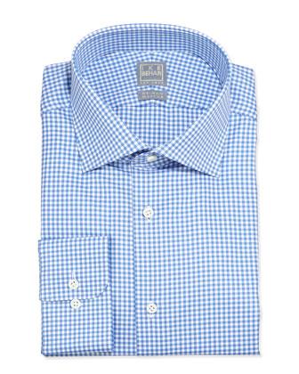 Long-Sleeve Gingham Dress Shirt, Blue Topaz