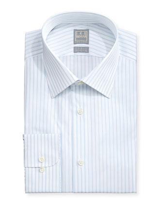 Pinstripe Twill Dress Shirt, Lt. Blue