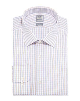 Shadow-Box Check Dress Shirt, Orange/Blue