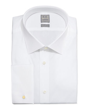 White-On-White Tonal Stripe Dress Shirt, White