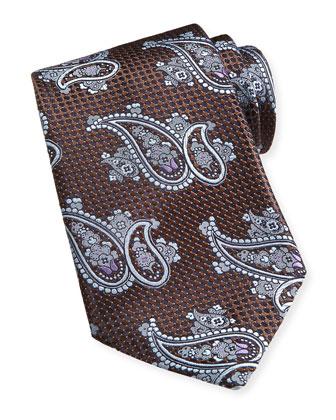 Paisley Textured Silk Tie, Brown