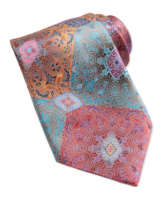 Quindici Patchwork Silk Tie, Red