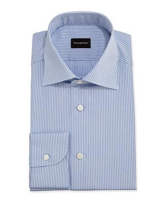 Striped Dress Shirt, Light Blue/Brown