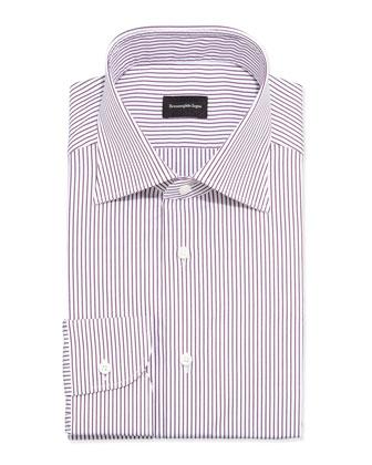 Bengal Striped Dress Shirt, Burgundy/White