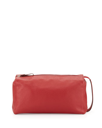 Pebbled Leather Toiletry Bag, Red