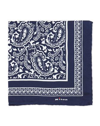 Bandana Silk Pocket Square, Navy