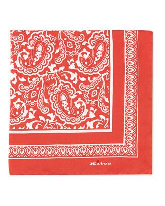 Bandana Silk Pocket Square, Aqua