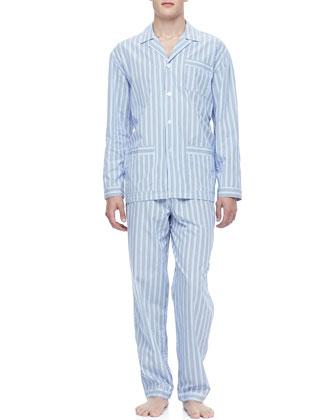 Classic Men's Pajamas, Blue Stripe