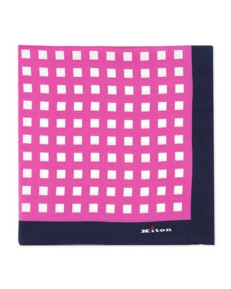 Box-Print Silk Pocket Square, Pink
