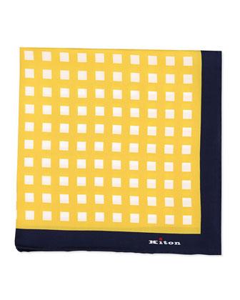 Box-Print Silk Pocket Square, Orange