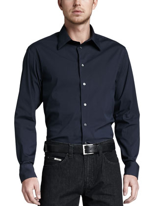 Stretch-Poplin Sport Shirt, Navy