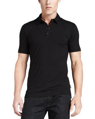 Stretch Short-Sleeve Polo, Black