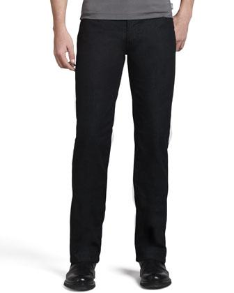 Long-Sleeve V-Neck Pullover & Slim Stretch-Denim Jeans