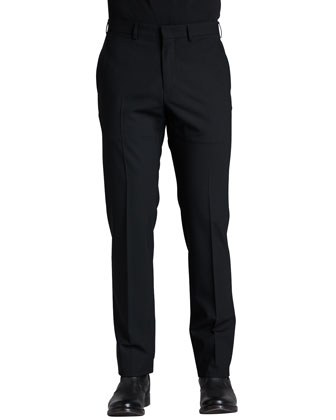 Flat-Front Dress Pants, Black
