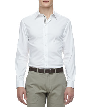 Poplin Grosgrain-Placket Dress Shirt, White
