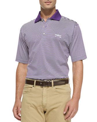 Striped TCU College Polo Shirt, Purple/White