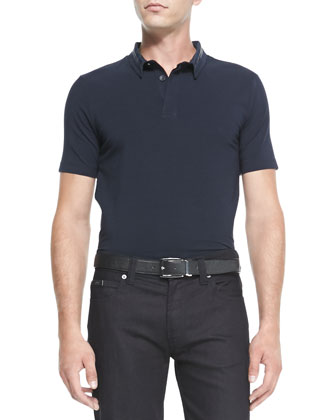 Double-Collar Polo Shirt, Navy