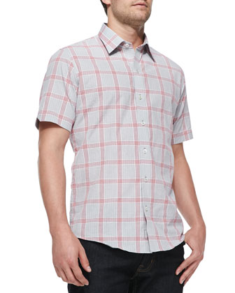 Windowpane Short-Sleeve Shirt, Dark Gray/Red