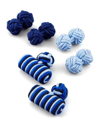 Set of Three Knot Cuff Links, Blue