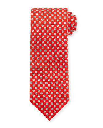 Owl-Print Woven Tie, Red