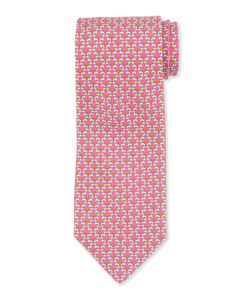 Kissing Dog-Print Tie, Pink