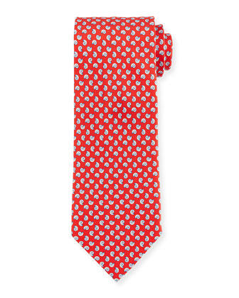 Seashell-Print Woven Tie, Red