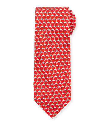 Tugboat-Print Woven Tie, Red
