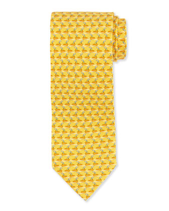 Tugboat-Print Woven Tie, Yellow