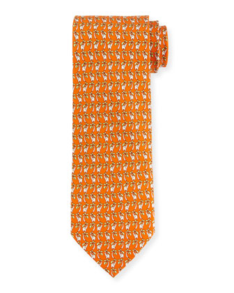 Elephant & Palm Tree-Print Tie, Orange