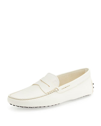 Pebbled Leather Driver, White