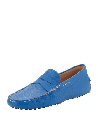 Pebbled Leather Driver, Blue