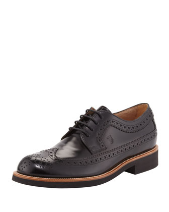 Light-Sole Leather Wing-Tip, Black