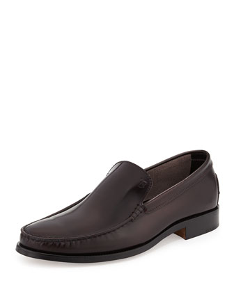 Devon Shiny Leather Loafer, Bordeaux