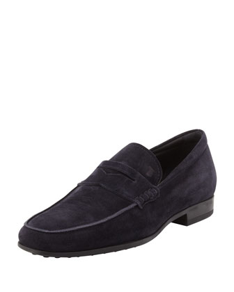 PENNY LOAFER, NAVY SUEDE