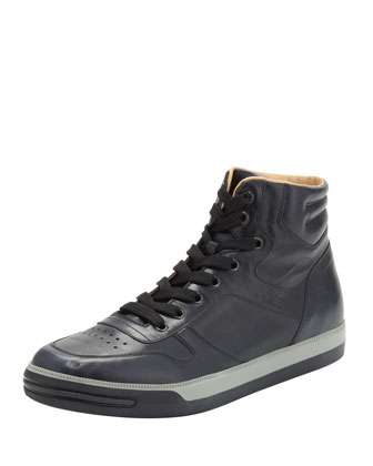 Leather High-Top Sneaker, Navy