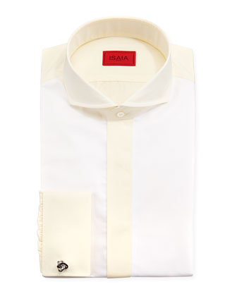 Colorblocked Dress Shirt, White/Yellow