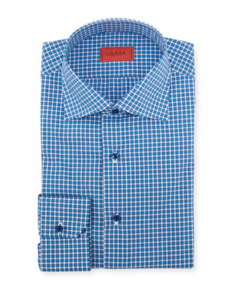 Woven Check Dress Shirt, Bright Blue