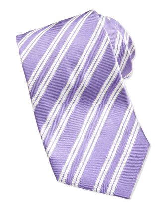 Rep Striped Silk Twill Tie, Purple