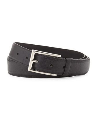 Saffiano Rectangle-Buckle Belt, Black