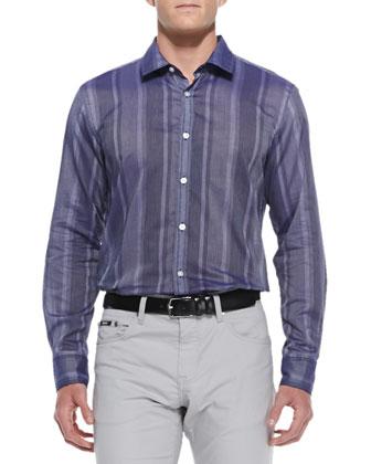 Large-Stripe Woven Shirt, Navy