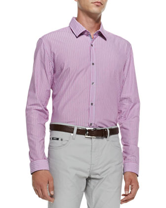 Fine-Stripe Woven Shirt, Medium Pink